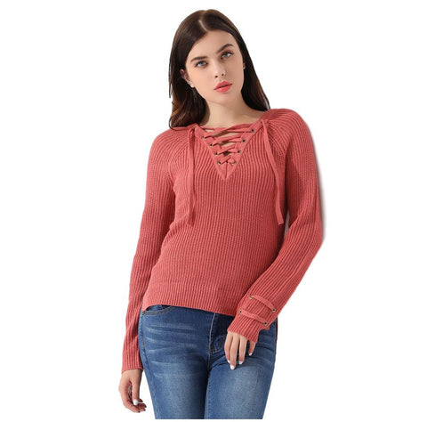 Pullover Long Sleeve Lace Up Knitted Sweater - Arista Gems