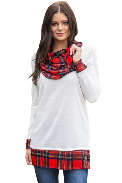 White Autumn Wind Plaid Cowl Neck Tunic - Arista Gems
