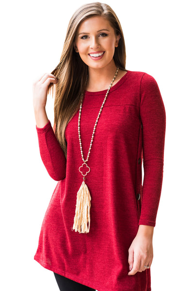 Red Button Side Long Sleeve Swingy Tunic - Arista Gems