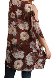 Burgundy Floral V-Neck Tunic - Arista Gems
