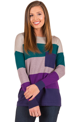 Green Purple Colorblock Pocket Pullover Tunic Top - Arista Gems