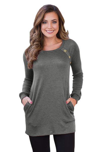 Black Button and Suede Accent Tunic Top - Arista Gems