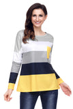 Black Yellow Colorblock Pocket Pullover Tunic Top - Arista Gems