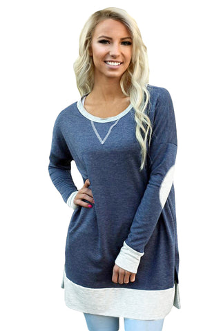 Navy Side Pocket Elbow Patch Colorblock Tunic - Arista Gems