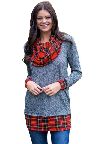 Gray Autumn Wind Plaid Cowl Neck Tunic - Arista Gems