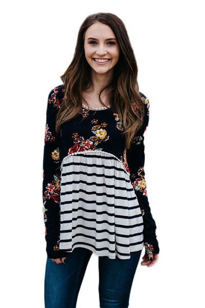 Black Floral Striped Babydoll Tunic - Arista Gems