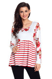 White Floral Striped Babydoll Tunic - Arista Gems