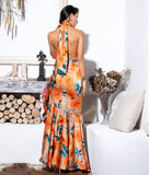Orange Cross Straps Side Slits Ruffled Print Maxi Dress - Arista Gems