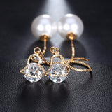 Heart Shape Austrian Crystal Long Stud Earrings - Arista Gems