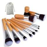 Bamboo Makeup Brushes Set with Bag