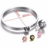 Removable 316l Stainless Steel Interchangeable DIY CZ Stone Bangle - Arista Gems