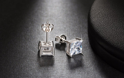 Square Crystal Stud Earrings - Arista Gems