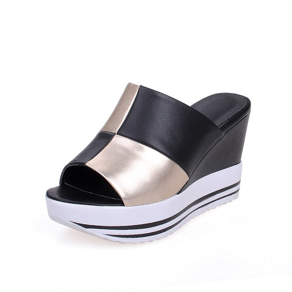 Leather Wedge Heel Slide Sandals - Arista Gems