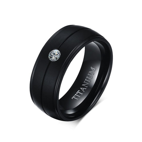 Men's Pure Titanium Black 8mm Ring - Arista Gems