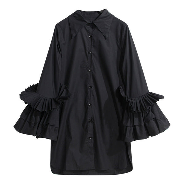 Women's Pleated Ruffles Flared Cuff Shirt - Arista Gems