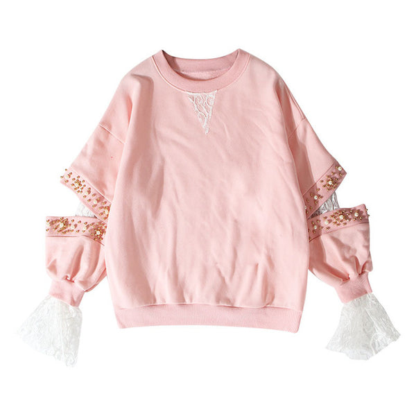 Lace Beading Long Sleeve Sweatshirt - Arista Gems