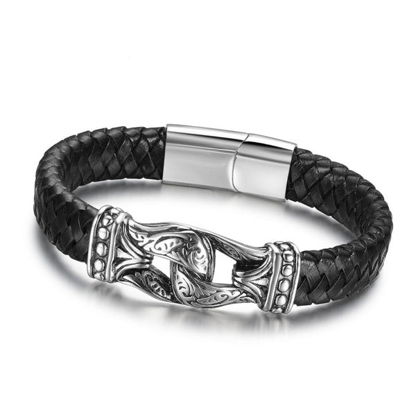 Men's Leather Stainless Steel Bracelet - Arista Gems