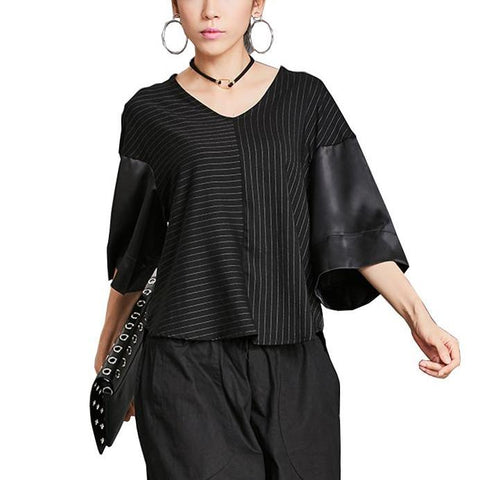 V Neck Striped Black Satin Patchwork Blouse - Arista Gems