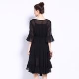 Women's Tunic Ruffles Irregular Hem Dress - Arista Gems
