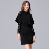 Black Lace Patchwork Tunic Dress - Arista Gems
