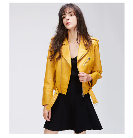 Yellow Short Classic Leather Jacket - Arista Gems