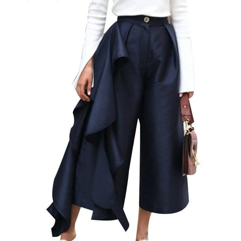 Ruffle High Waist Wide Leg Pants - seraie