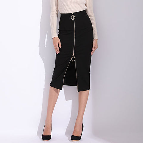 High Waist Zip Front Pencil Skirt - Arista Gems