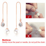 Pearl Crystal Chain Drop Earrings - seraie