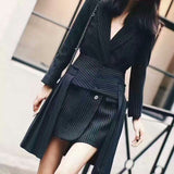 Women's 2 Pieces Set Long Sleeve Striped Black Blazer With Midi Shirt - Arista Gems
