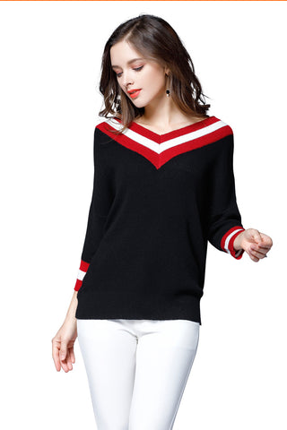 Plus Size Red White Striped Black Loose Sweater - Arista Gems