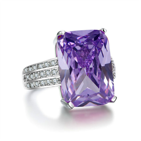 Purple-White Gold Color big yellow stone Ring - Arista Gems