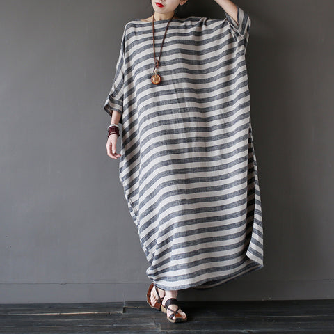 Striped Half Sleeve Loose Cotton Linen Maxi Dress - Arista Gems