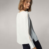 Solid White Long Sleeve O-neck Split Hollow Out Blouse - Arista Gems