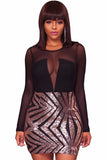 Sequin Black Sheer Mesh Dress - Arista Gems