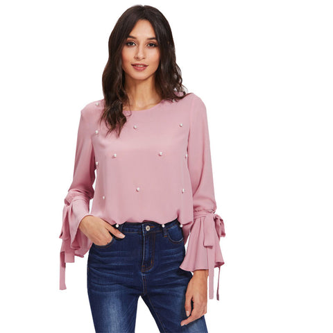 Pearl Embellished Bow Tied Flounce Sleeve Blouse - Arista Gems