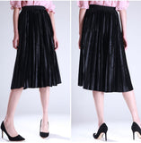Pleated Retro Velvet Skirt - Arista Gems