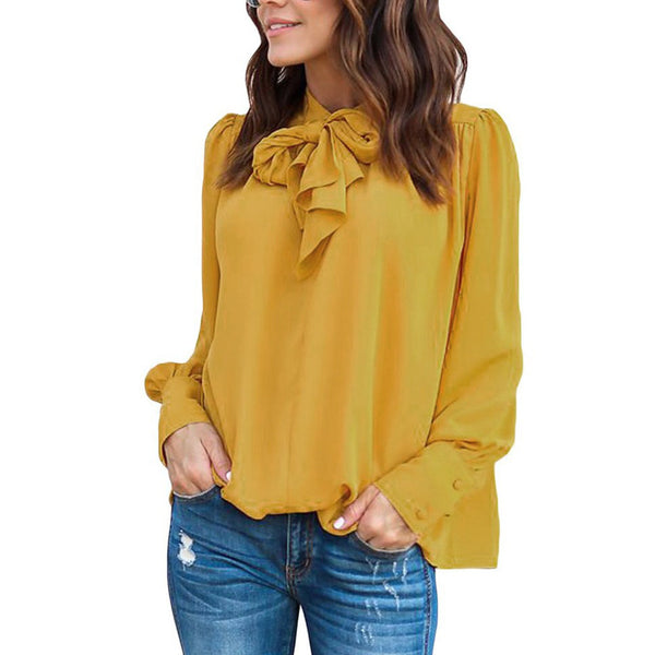 Women Casual Chiffon Long Sleeve Solid Bow Tops T-Shirt Blouse - Arista Gems