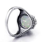 Oval Shape Gothic Silver Ring - Arista Gems