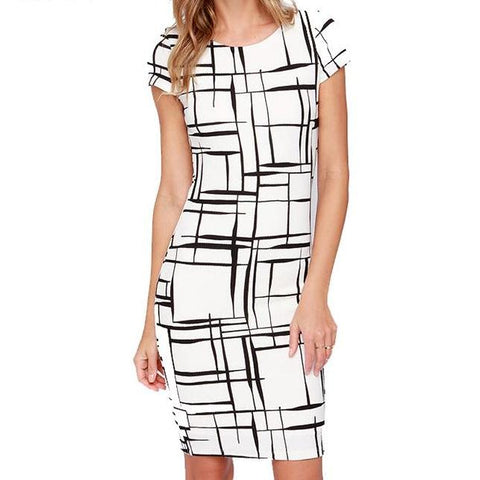 Short Sleeve Printed Fitted Dress - Arista Gems