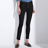 High Waist Button Front Jeans - Arista Gems
