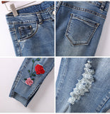 Women's Distressed Embroidery Jeans - Arista Gems