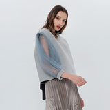 Women's Lace Up Lantern Sleeve Tulle Sweatshirt-Arista Gems