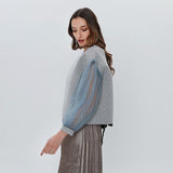 Women's Lace Up Lantern Sleeve Tulle Sweatshirt - Arista Gems