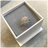 Spring Flower Glitter Effect Zircon Ring - Arista Gems