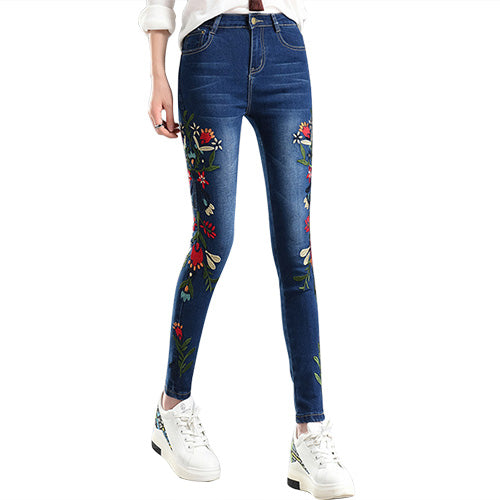Women's Flower Embroidery Stretch Jeans - Arista Gems
