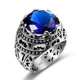 Ethnic Blue Sapphire Sterling Silver Ring - Arista Gems