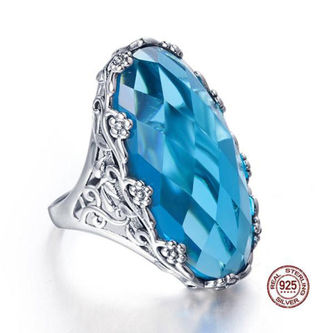 Silver  22ct Oval Aquamarine  Big Ring - seraie