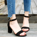 Open Toe Chunky High Heels Sandals - Arista Gems