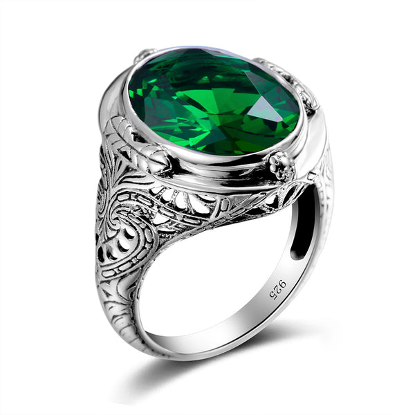 Gold And Silver Oval Green Emerald Victorian Ring - Arista Gems