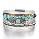 Unique Embellished Layer Leather Bracelet - Arista Gems